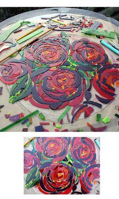 Rose Peonies WIP by Helen Nock, via Flickr - mosaic, slate/stone artist ... love her work!