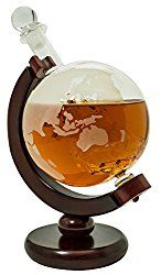 Whiskey Globe Decanter with Antique Dark Finished Wood Stand Bar Funnel Perfect Gift Set Scotch Liquor Bourbon Wine Vodka
