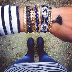 Multiple Navy Blue Gold Bracelets