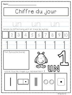 French Number of the Day pack with 3 pages for each of the numbers from 1 to 10.