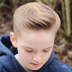 Wavy Brushed Back Hair Trendy Boys Haircuts, Kids Hairstyles Boys, Boy Haircuts Short, Little Boy Hairstyles, Cool Haircuts, Hairstyles Haircuts, Haircuts For Men, Trendy Hairstyles, Baby Haircut