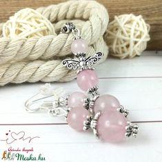 Rózsakvarc angyal ásvány nyaklánc fülbevaló szett (Arindaekszerek) - Meska.hu Beaded Bracelets, Jewelry, Fashion, Jewlery, Moda, Jewels, La Mode, Jewerly, Fasion