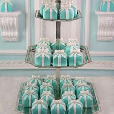 I ordered these for my sister's bridal shower, she was born in London, England so we wanted to honor her childhood by hosting a traditional English Tea party. Of course she's obsessed with T&Co. so why not themed petit fours??! Haha!