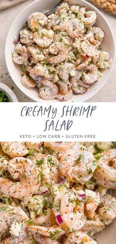 Shrimp Salad Recipes, Seafood Salad, Easy Salad Recipes, Keto Recipes, Dinner Recipes, Healthy Recipes, Shrimp Salads, Recipes For Cooked Shrimp, Healthy Food