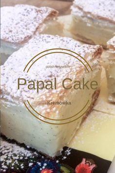 Try John Paul II's favorite pastry, authentic Polish Kremówka Papieska, Papal Cream Cake good recipes Polish Desserts, Polish Recipes, Just Desserts, Delicious Desserts, Polish Food, Gourmet Recipes, Sweet Recipes, Baking Recipes, Cake Recipes
