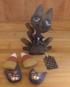 Halloween Black Cat and Howling Cats and Candy Corn by Skunkhollow, $25.00