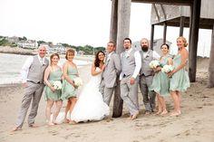 Beach wedding. JCrew Dusty shale bridesmaid dresses.