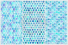 Set Of Seamless Watercolor Patterns. Simple Geometric Shapes ...