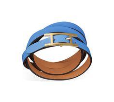Hapi 3 MM Multi-loop bracelet in paradise blue Swift calfskin, gold-plated clasp (wrist size <17 cm)