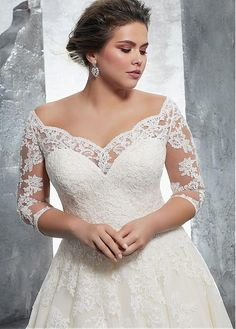 Buy discount Fabulous Tulle Off-the-shoulder Neckline A-Line Plus Size Wedding Dress With Lace Appliques at Ailsabridal.com