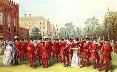 The Parade Of The Yeomen of the Guard at Clarence House Paintings | Nicholas Chevalier paintings