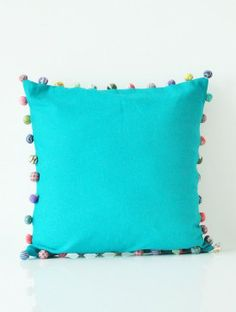 Pom Pom Turquoise Accent Cushion Cover - 16in x 16in