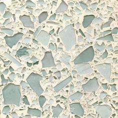 Seaglass Brenstone Recycled Glass Countertops, Sarasota, Florida.  Photo from Kayla Coe