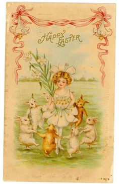 Happy Easter-GIRL W/ DANCING WHITE & BROWN RABBITS-Rotograph Postcard Bunny