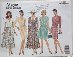 Size 8 10 12  Vintage Vogue  Basic Design Sewing Pattern 2927  Wrap Top and Full or Slim  Skirt in two lengths. 1992