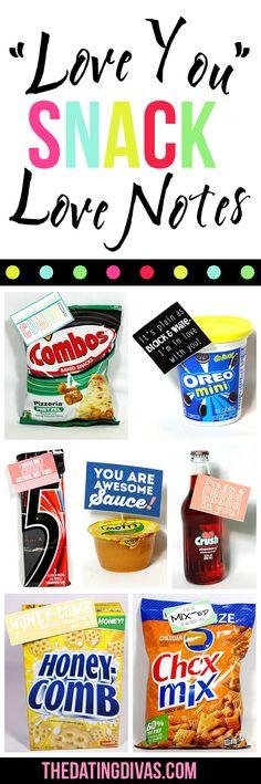 FREE Printable Romantic Snack Love Notes