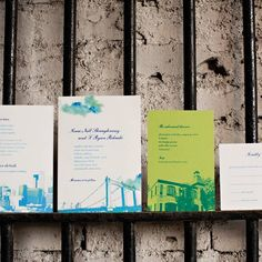 The couple's invites featured an artistic rendition of the Hennepin Avenue Bridge in Downtown Minneapolis.