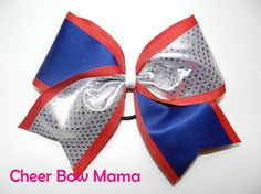 Red, Silver & Blue Cheer Bow by Cheer Bow Mama