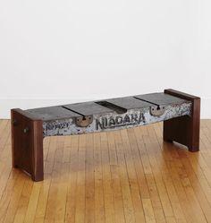 Elegant Salvage Shearing Machine Coffee Table Vintage Niagara Metal Shear Deck With  Oregon Black Walnut Ends