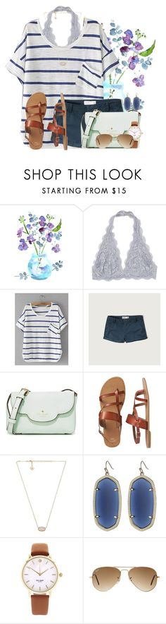 """""""Beautiful summer blues"""" by victoriaann34 ❤ liked on Polyvore featuring Abercrombie & Fitch, Kate Spade, Gap, Kendra Scott and Ray-Ban"""