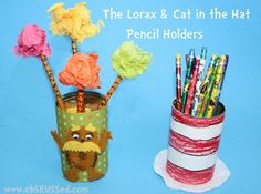 The Lorax and Cat in the Hat Pencil Cans by obSEUSSed This will look perfect in my Dr. :) I would probably give these pencils out to birthday students. Projects For Kids, Art Projects, Crafts For Kids, Diy Crafts, Teen Crafts, Book Crafts, Creative Activities, Creative Teaching, Teaching Ideas