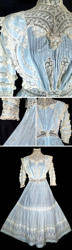 Day dress ca. 1900s. Cotton batiste hand-decoraated with lace. Boned neckline. Bodice buttons in back with fitted waist that fastens with hook & eye closures in the back. lovespyvintage/ebay