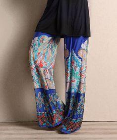 Look at this Blue Fleur-de-Lis High-Waist Palazzo Pants on #zulily today!