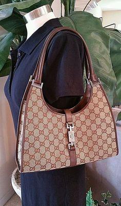 75bb463ed65 Gucci Jackie O Brown Khaki Signature G Bag Tote Purse Sm M