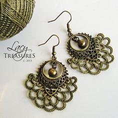 Earrings . Statement Earrings . Dangle Earrings . Brass Earrings . Lace Earrings . Bell Charm . Everyday earrings. FREE SHIPPING