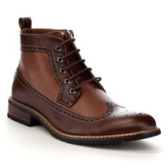 These fashionable ankle booties are featuring a wing tip front withbrogue detailing, lace up closure for easy on and wear, andbreathable vamp design, low stacked heel with cushioned footbed. Wingtip Shoes, Brogues, Leather Men, Leather Shoes, Mens Boots Fashion, Guy Fashion, Men's Shoes, Shoe Boots, Gq Men