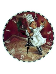 Fat French Chef Wine Wall Clock / Kitchen Bistro Decor by American Chateau French Bistro Kitchen, Bistro Kitchen Decor, Fat Chef Kitchen Decor, Kitchen Themes, Kitchen Ideas, Kitchen Decorations, Kitchen Stuff, Kitchen Wall Clocks, Decoupage
