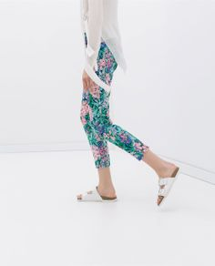 ZARA - WOMAN - PRINTED TROUSERS WITH SIDE ZIP