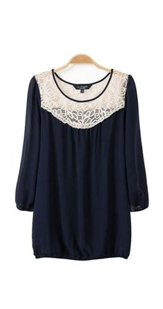 O-neck Three Quarter Sleeves Lace Splicing Chiffon Casual T-shirt