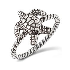 Sea Turtle Silver Rope Ring