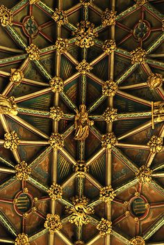 example of Net Vaulting at Gloucester Cathedral, England (detail of Gothic ceiling) Gothic Architecture, Architecture Details, Gloucester Cathedral, Church Interior, Cathedral Church, Shades Of Gold, Place Of Worship, Vaulting, Beautiful Buildings