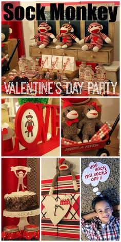 Such a creative sock monkey Valentine's Day party for kids! See more party ideas at CatchMyParty.com.