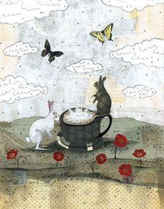 Bunny Rabbit Painting Reproduction Rabbit Art Print by sarahogren