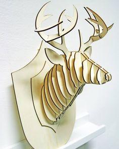 Plywood laser cut deer head #lasercut #deer #plywood by eclaserstudio