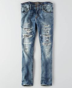AEO Skinny Core Flex Jeans, Men's, Light Destroy Wash