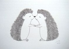 Hedgehog Original Ink Drawing Print Black and White by mikaart