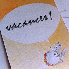 tambour battant ! les vacances en fanfare  carte postale fait main - aquarelle et micron