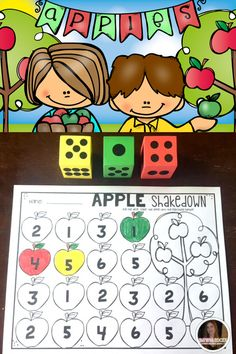 Apples Preschool and Kindergarten is full of hands on science, math and literacy activities and centers. Students will love learning matching the dice to numbers!