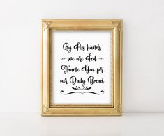 Christian Prayer Print By His hands we are fed Thank you for