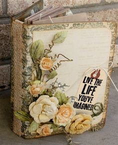 """""""Live The Life You've Imagined"""" Mini Album by MelissaSamuels Peas in a Bucket Scrapbook Cover, Scrapbook Journal, Mini Scrapbook Albums, Scrapbook Supplies, Scrapbooking Layouts, Book Crafts, Hobbies And Crafts, Paper Crafts, Handmade Journals"""