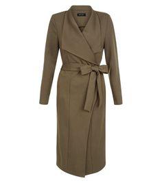 Khaki Tie Waist Waterfall Duster Coat | New Look