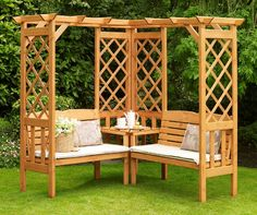 British corner pergola - something similar would look nice in front