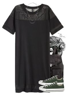 """Slytherin Inspired Outfit w/ a T-Shirt Dress"" by hpstyle ❤ liked on Polyvore"