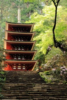 National Treasure of Japan, Five storied pagoda of Muro-ji temple, Nara, Japan 室生寺五重塔(国宝)