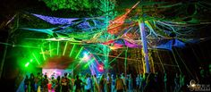 Festival dancefloor, decor, light show, tree shade system, HeadSpace floor at OpenSource 2015 Cape Town South Africa, Headspace, Festivals, Fair Grounds, Floor, Travel, Viajes, Destinations, Traveling