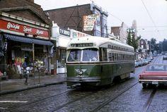 Rt.23 trolley running on Germantown Ave. in Philadelphia .